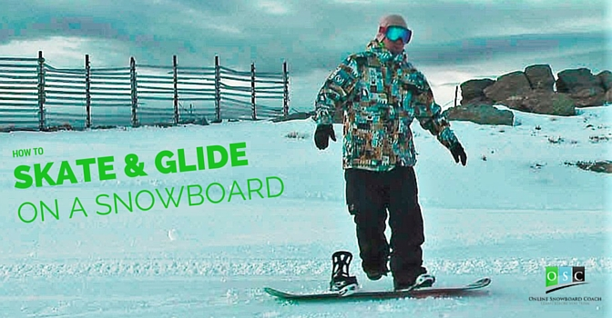 Straight Glide on A Snowboard