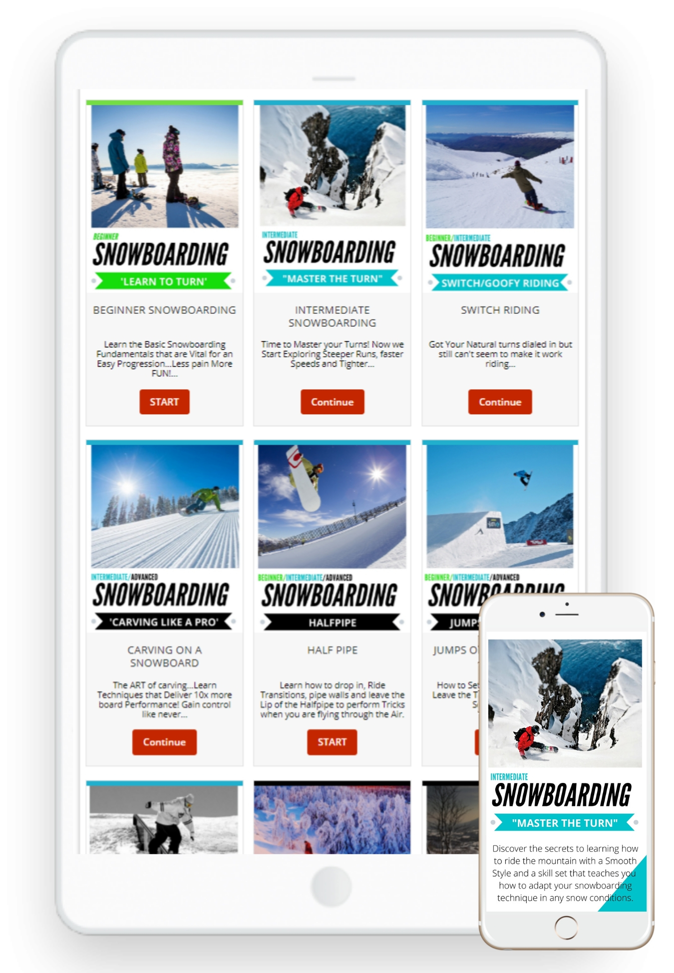 Learn how to snowboard training tutorials