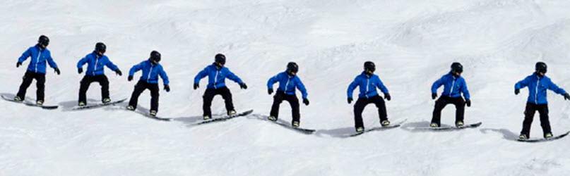 Bumpy terrain snowboarding