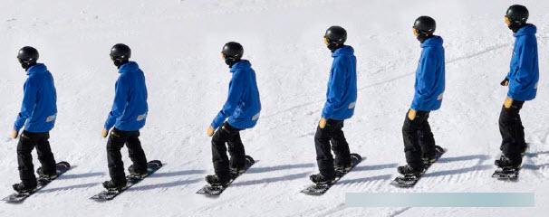 heelside side slipping beginner snowboarder